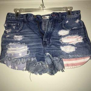 American flag pocket denim shorts